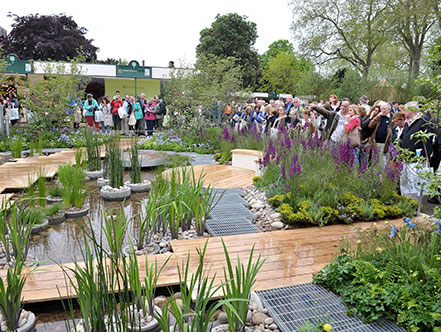 Royal Horticultural Society members admire the garden