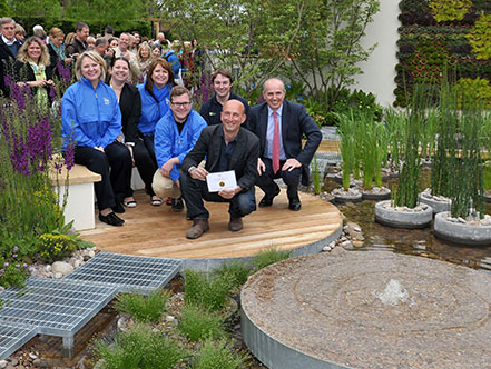 Nigel Dunnett and The Landscape Agency celebrate the gold award with members of the RBC team