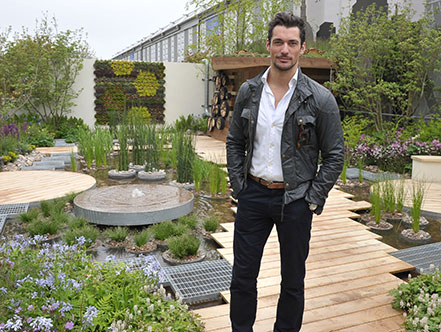 David Gandy, model, enjoys the view from the RBC Blue Water Roof garden