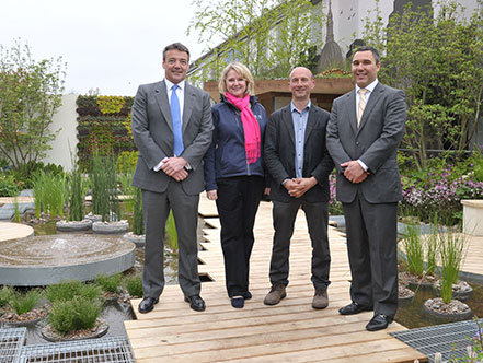 RBC executives Dave Thomas, Lynn Patterson and Stuart Rutledge on the garden with Designer, Nigel Dunnett