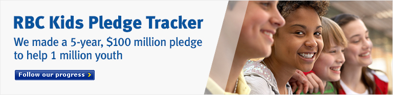RBC Kids Pledge Tracker. We made a 5-year, $100 million pledge to help 1 million youth