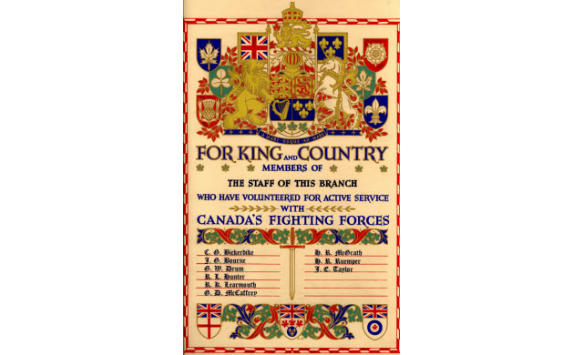 Certificat de service actif de la banque royale du canada, 1945
