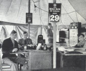 Royal Bank perpetual wall calendars, seen here at Farnham Military Camp, Quebec, travelled the world during the Second World War.