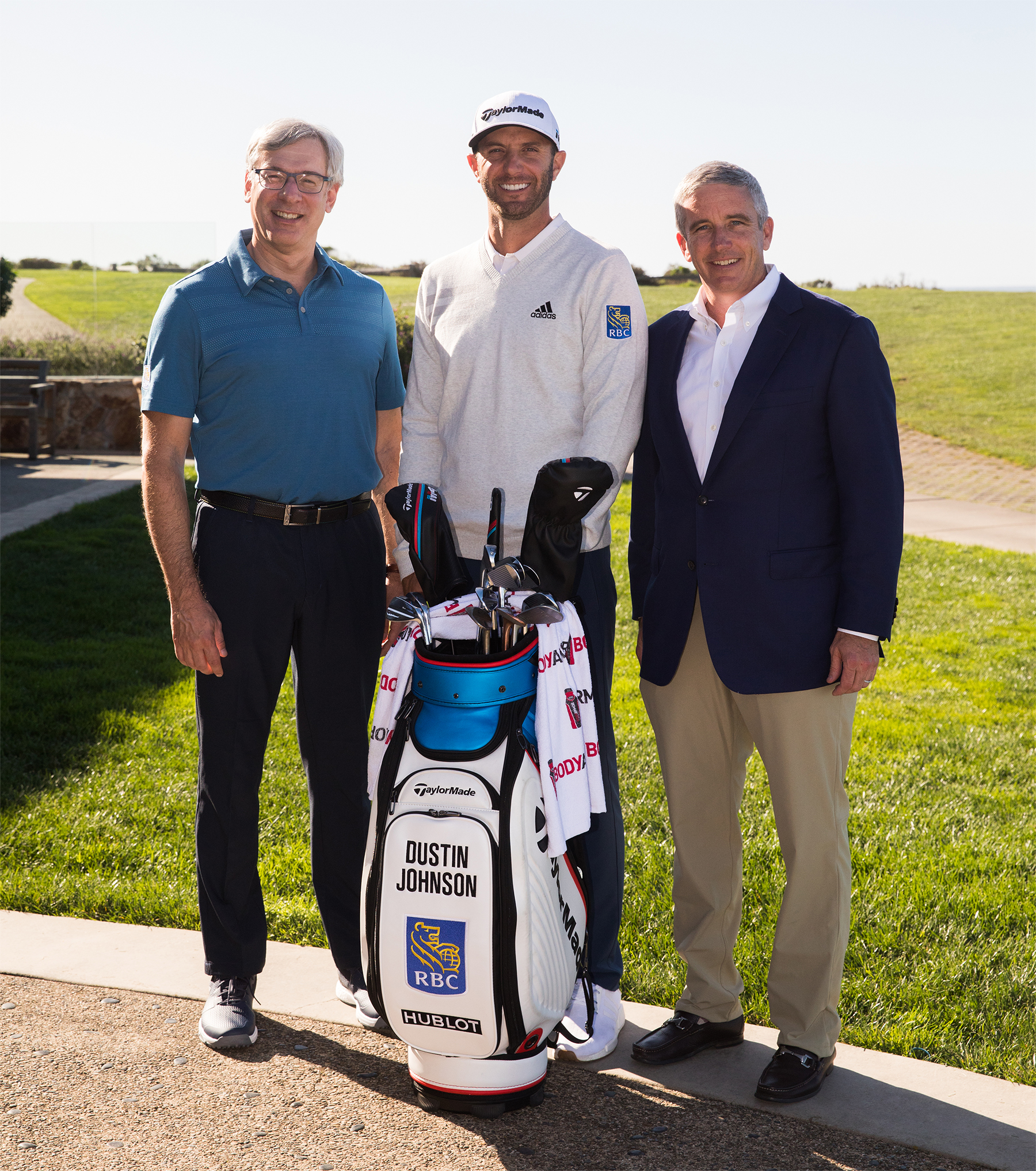 Dustin Johnson, PGA TOUR Golfer and newest RBC brand ambassador joined by Dave McKay, President and CEO, RBC and Jay Monahan, PGA TOUR Commissioner