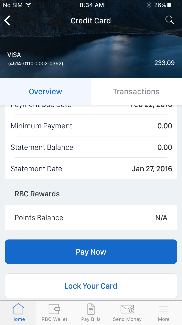 Credit card controls allows RBC Mobile clients the freedom to lock and unlock their credit cards