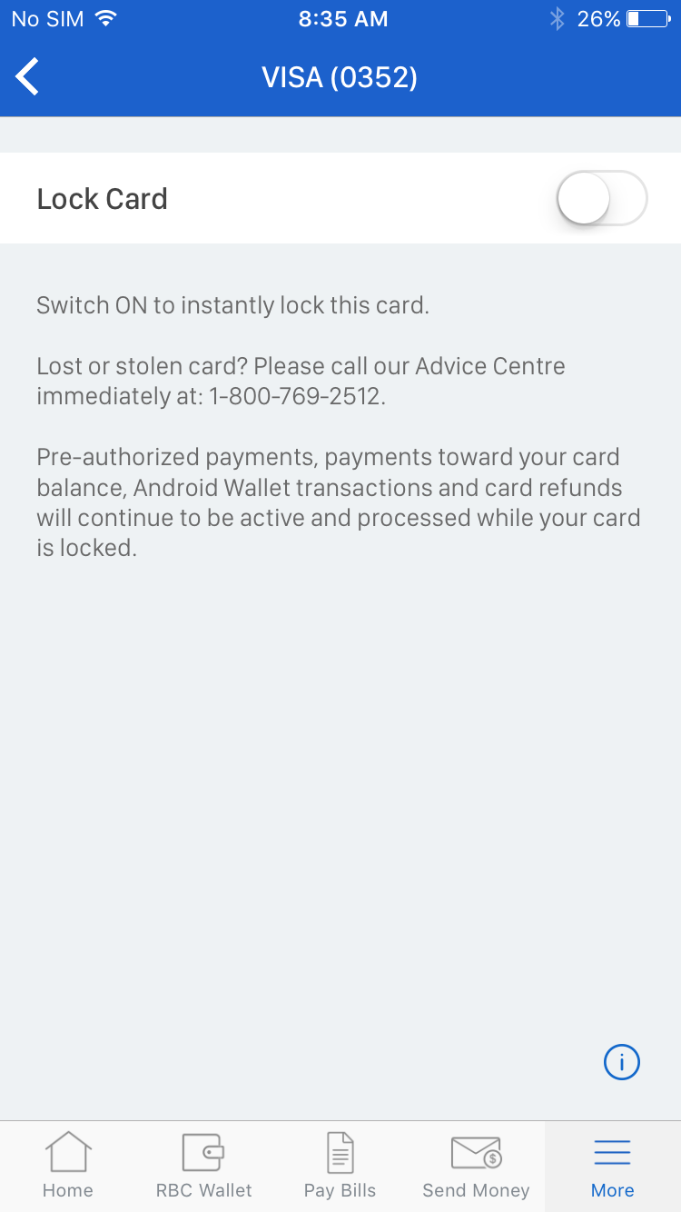 Credit card controls allows RBC Mobile clients the freedom to lock and unlock their credit cards at their convenience