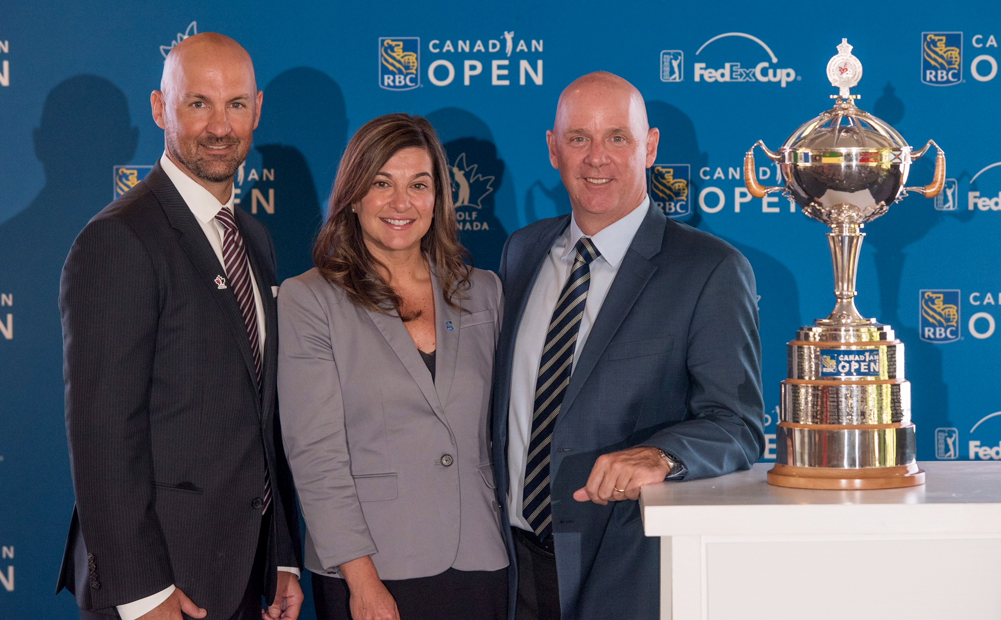 Laurence Applebaum, CEO, Golf Canada, Mary DePaoli, Executive Vice President Chief Marketing Officer, RBC, and Andy Pazder, Executive Vice President and Chief of Operations for the PGA TOUR announce new 2019 date for RBC Canadian Open