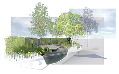 Rbc waterscape garden unveiled for chelsea 2014 rbc for Waterscape garden designs