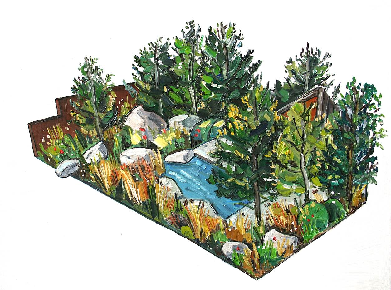 Artist's rendition of the Royal Bank of Canada Garden for the 2017 RHS Chelsea Flower Show. Image by Sarah Jane Moon.