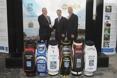 PGA of America CEO Joe Steranka, Chief Brand and Communications Officer Jim Little and PGA of America President Jim Remy during The PGA and RBC Patron Announcement at The 57th PGA Merchandise Show at The Orange County Convention Center in Orlando, Florida, USA, on Thursday, January 28, 2010. (Photo by Montana Pritchard/The PGA of America)