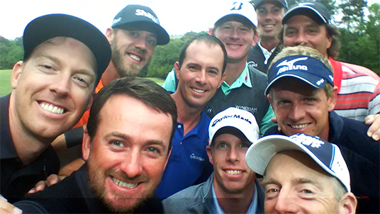 Team RBC golfers gathered in Hilton Head at the RBC Heritage to launch #RBCGolf4Kids, an online challenge designed to raise money and awareness for children's charities.   They marked the occasion with a group selfie - dubbed the 'golfie' - including Hunter Mahan, Graeme McDowell, David Hearn, Jim Furyk (left to right, front row); Graham DeLaet, Mike Weir, Luke Donald (left to right, second row); Brandt Snedeker, Stephen Ames (left to right, third row); Matt Kuchar (back row).