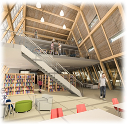 """The interior space is organized into two main uses, a library and multipurpose space which is  flexible and can be adapted to suit the community's future needs."""