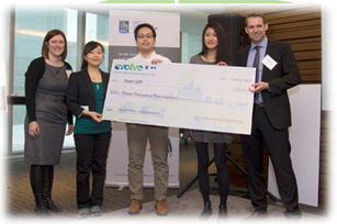 Second place team, Samuel Iun, Florence Ma, Yi Fan Xie, Vivien Li also from Ryerson University, received $3,500.