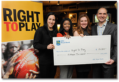 RBC Olympians Caroline Ouellette, Perdita Felicien and Clara Hughes present Right To Play National Director Robert Witchel with a $15,000 donation as part of the RBC Olympian Grant Program