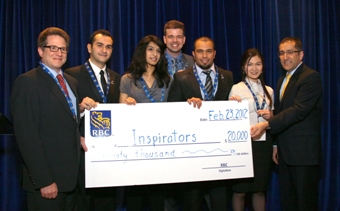 The winners of the 2012 RBC Next Great Innovator Challenge, the Inspirators, accept their $20,000 prize.