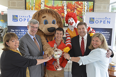 RBC and Golf Canada name Ronald McDonald House Charities Canada official charity partner of the RBC Canadian Open (Left to right - RMH Toronto CEO Jane Marco, RBC Group Head Dave McKay, 2013 World Figure Skating Champion Patrick Chan, Golf Canada CEO Scott Simmons and RMHC Canada CEO Kathy Loblaw)