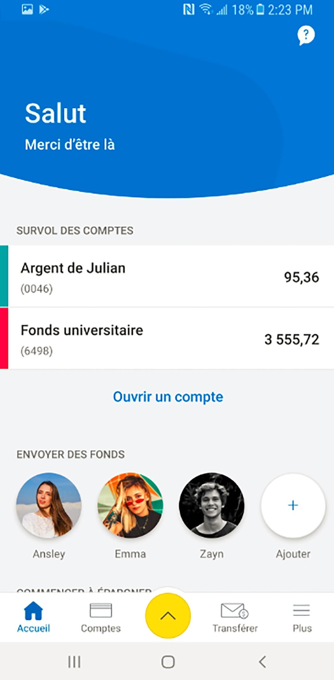 Tableau de bord Android pour RBC Mobile Student Edition