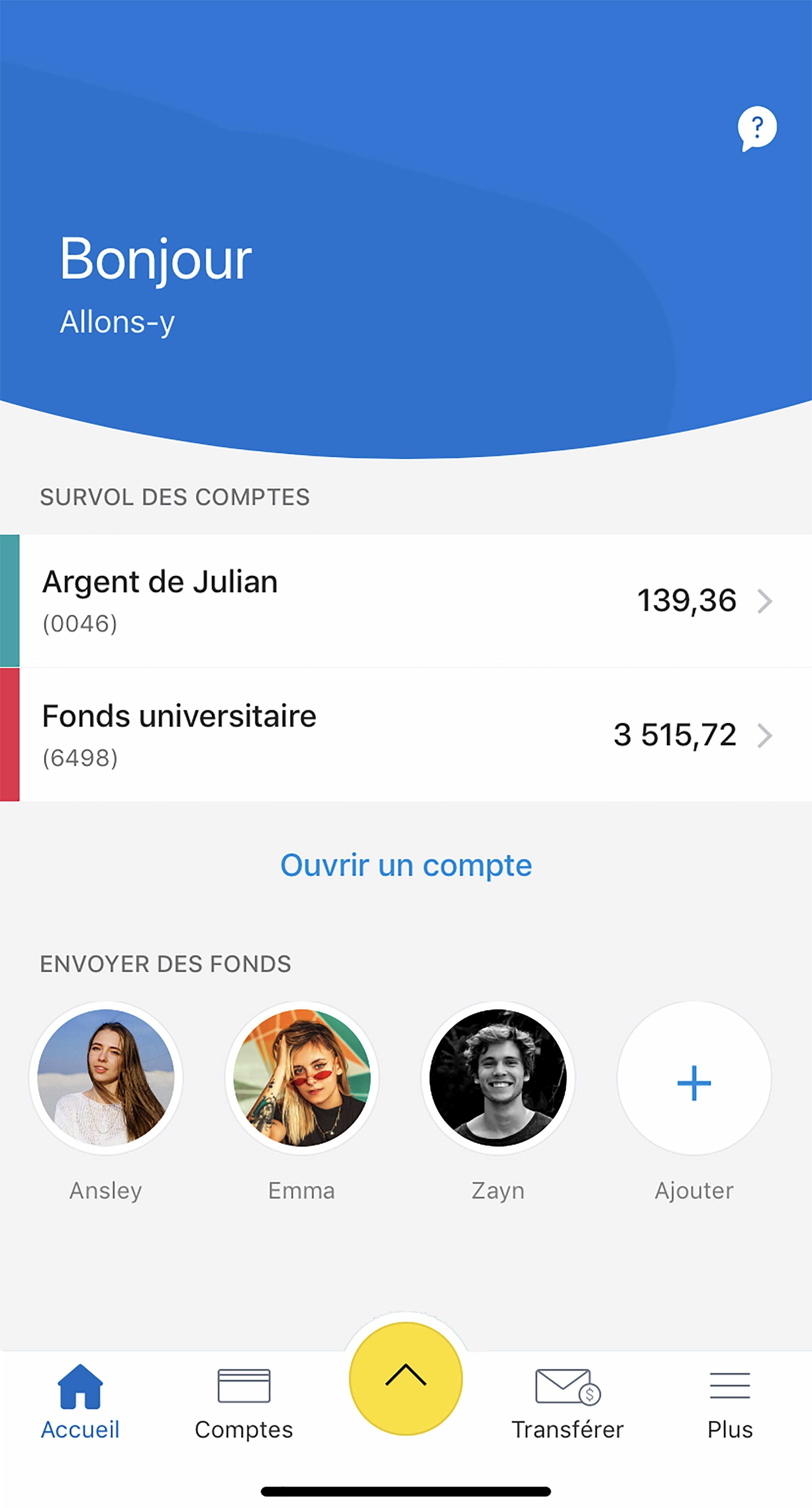 Tableau de bord iOS pour RBC Mobile Student Edition
