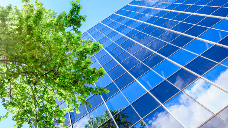 A view of looking up at a glass skyscraper with trees