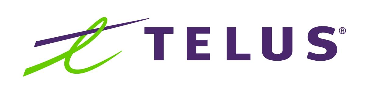 Telus logo. Registered trademark symbol.
